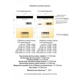 Plastikinė kortelė pagal užsakymą