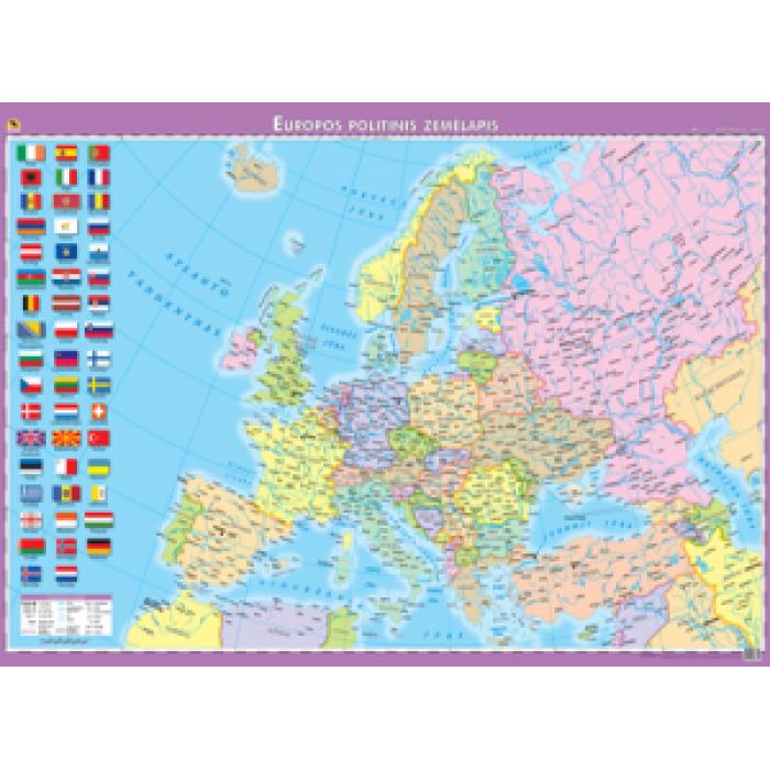 Europos politinis žemėlapis. 110x74 cm, laminuotas