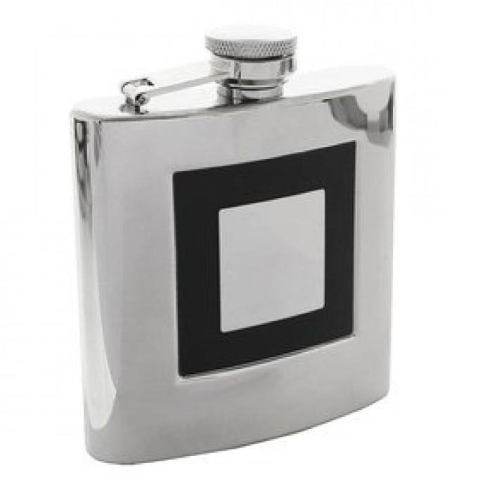 Gertuvė 6oz metalo spalvos dekoruota kvadratu, SV-3030522